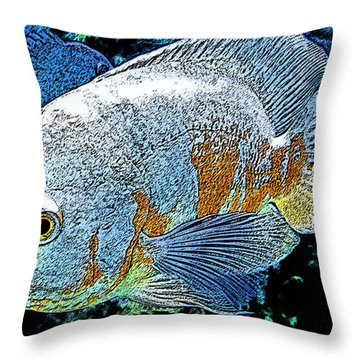 Throw Pillow featuring the painting Exotic Fish  by Colette V Hera  Guggenheim