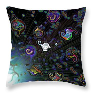 Throw Pillow featuring the digital art Exploding Star by Alec Drake