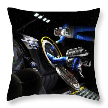 Explorers In Space Suits Exit An Throw Pillow by Walter Myers