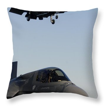 F-35b Lighnting II Variants Land Aboard Throw Pillow by Stocktrek Images