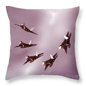 F22 Raptor Times Five Throw Pillow by Angel  Tarantella