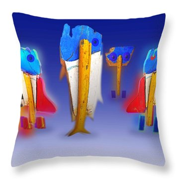 Fab Four Throw Pillow by Charles Stuart