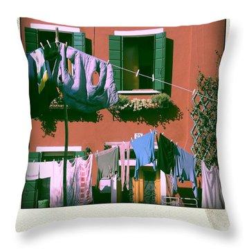 Facades Of Burano. Venice Throw Pillow by Bernard Jaubert