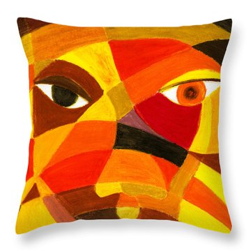 Face 45 Throw Pillow by Hakon Soreide