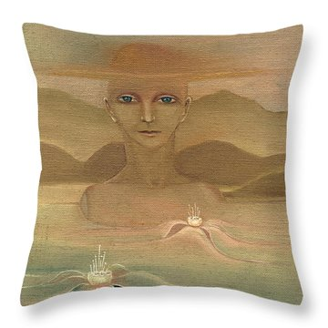Face From Nature Desert Landscape Abstract Fantasy With Flowers Blue Eyes Yellow Cloud  In Sky  Throw Pillow