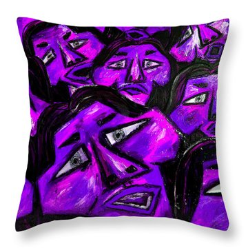 Faces - Purple Throw Pillow by Karen Elzinga