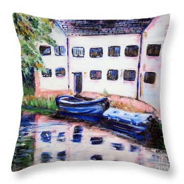Factory On The River Throw Pillow