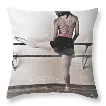 Faded Ballerina Throw Pillow by Scott Sawyer