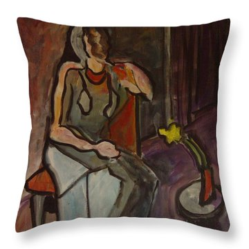 Fading Flower Throw Pillow by Leon Sarantos