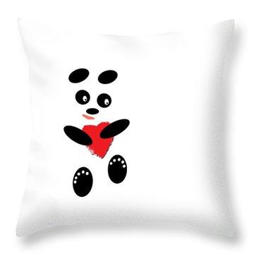 Fading Like A Flower. Panda In Love. #01 Throw Pillow by Ausra Huntington nee Paulauskaite