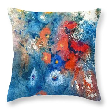 Throw Pillow featuring the painting Faerie Flowers by Joan Hartenstein