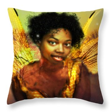 Throw Pillow featuring the digital art Faery Dawn by Nada Meeks