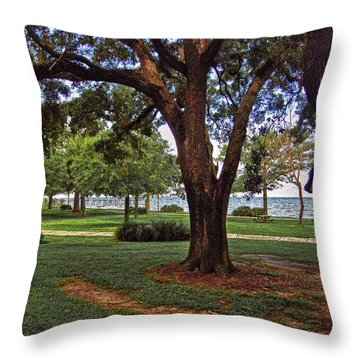 Fairhope Lower Park 2 Trees Throw Pillow by Michael Thomas