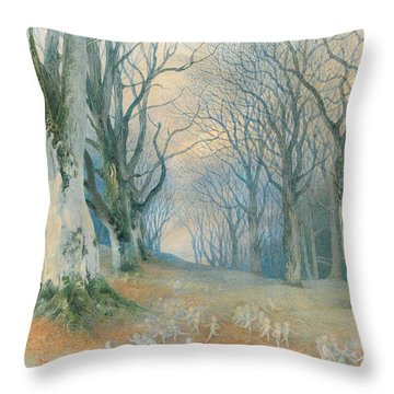 Fairies And Squirrels Throw Pillow by Richard Doyle