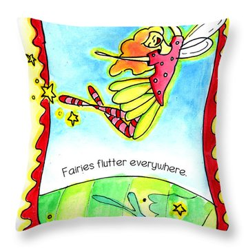 Throw Pillow featuring the mixed media Fairies Flutter Everywhere by Nada Meeks