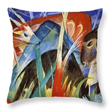 Fairy Animals Throw Pillow by Franz Marc