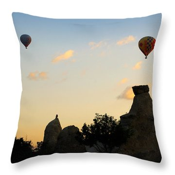 Fairy Chimneys And Balloons Throw Pillow by RicardMN Photography