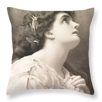 Faith Throw Pillow by Frederic Leighton