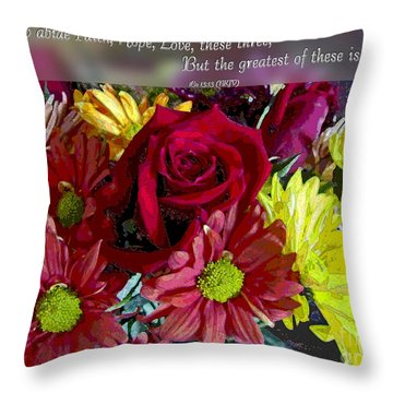 Faith Hope Love II Throw Pillow by Debbie Portwood