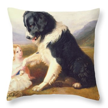 Faithful Friends Throw Pillow by English School
