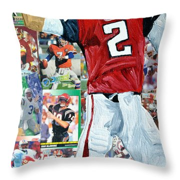 Falcons Quaterback Throw Pillow by Michael Lee
