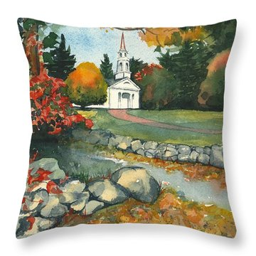 Throw Pillow featuring the painting Fall At Martha-mary Chapel - Sudbury by Lynn Babineau