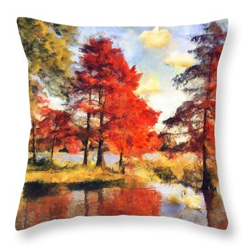Fall At Swan Lake Throw Pillow by Jai Johnson