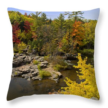 Throw Pillow featuring the photograph Fall At The Eau Claire Dells by Judy  Johnson