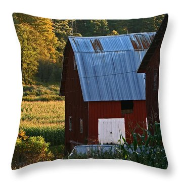 Fall Barns Throw Pillow