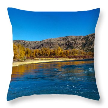 Fall Colors On The Snake River Throw Pillow by Robert Bales