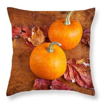 Throw Pillow featuring the photograph Fall Decorative Pumpkins by Verena Matthew