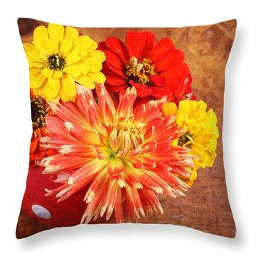 Fall Flower Arrangement Throw Pillow by Verena Matthew