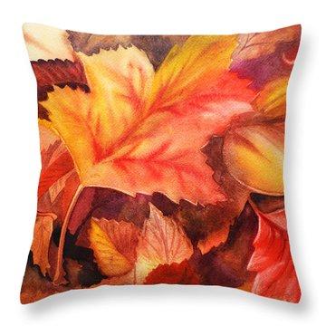 Fall Leaves Throw Pillow by Irina Sztukowski