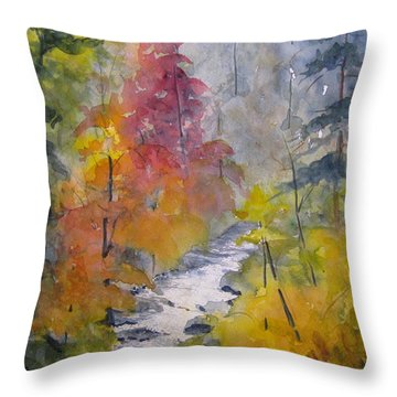 Fall Mountain Stream Throw Pillow by Gretchen Allen