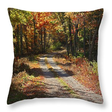 Fall On The Wyrick Trail Throw Pillow by Denise Romano