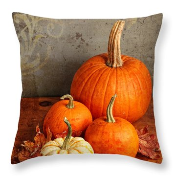 Throw Pillow featuring the photograph Fall Pumpkin And Decorative Squash by Verena Matthew