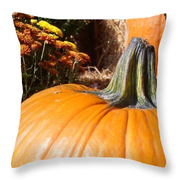 Fall Pumpkin Throw Pillow by Kimberly Perry