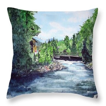 Throw Pillow featuring the painting Fall River Estes Park by Tom Riggs