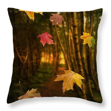 Falling Leaves Throw Pillow by Amanda Elwell