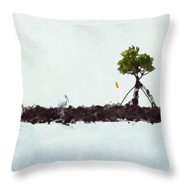 Falling Mangrove Leaf Throw Pillow