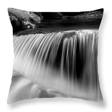 Falling Water Black And White Throw Pillow by Rich Franco