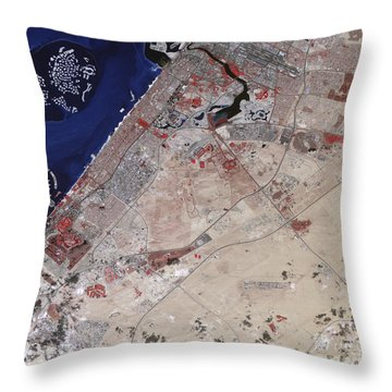 False-color Image Of Part Of Dubai Throw Pillow by Stocktrek Images