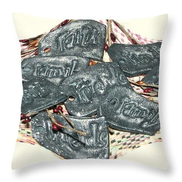 Family Faith Friends Swag Throw Pillow by Pamela Hyde Wilson