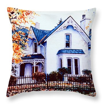 Family Home Portrait Throw Pillow by Hanne Lore Koehler