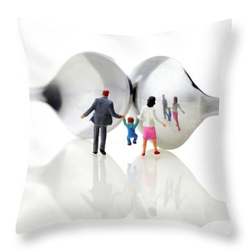 Family In Front Of Spoon Distoring Mirrors II Throw Pillow by Paul Ge