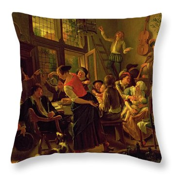 Family Meal Throw Pillow by Jan Havicksz Steen