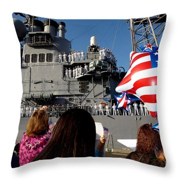 Family Members Wait On The Pier Throw Pillow