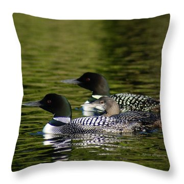 Family Swim Throw Pillow by Steven Clipperton