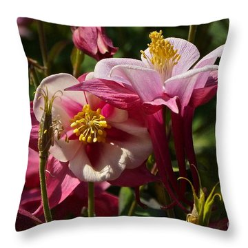 Fan Columbines Throw Pillow by Byron Varvarigos