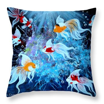 Throw Pillow featuring the painting Fantailia by Fram Cama